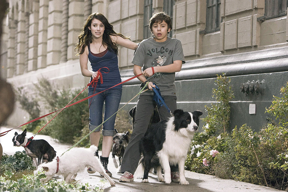 "Photo - After finding a place to hide their dog, Friday, Andi (Emma Roberts) and her brother Bruce (Jake T. Austin) wind up giving shelter to most of the strays in town in ""Hotel for Dogs."" DREAMWORKS PHOTO"