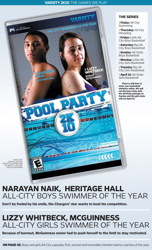 Photo - VIDEO GAME COVER / ALL-CITY BOYS SWIMMER OF THE YEAR / ALL-CITY GIRLS SWIMMER OF THE YEAR / VARSITY 2K10: THE GAMES WE PLAY / POOL PARTY GRAPHIC WITH PHOTO: HIGH SCHOOL SWIMMING: Pool Party 2K10 All-City swimming cover- Heritage Hall's Narayan Naik and Bishop McGuinness' Lizzy Whitbeck pose at The Oklahoman's studios in Oklahoma City on Wednesday, March 31, 2010. Photo by John Clanton, The Oklahoman   PHOTO ILUSTRATION BY MATT CLAYTON, THE OKLAHOMAN