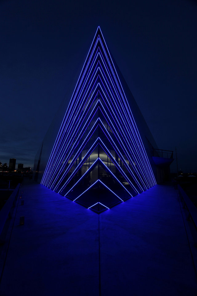 NIGHT: Devon Boathouse at the Oklahoma River Friday, November 11, 2011. Photo by Doug Hoke, The Oklahoman