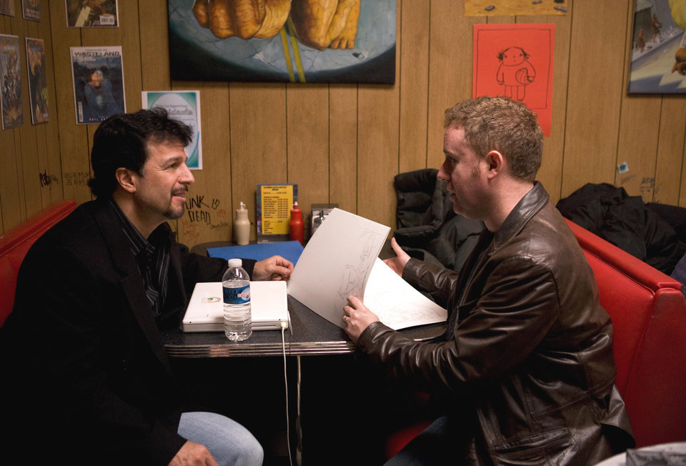 Photo - John Romita Jr., left, with writer Mark Millar are seen on the set of the first