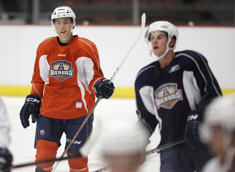Ryan Nugent-Hopkins (18), left, during the Barons Open Training Camp at the Cox Convention Center in Oklahoma City, Okla., Sunday, Sept. 30, 2012.  Photo by Garett Fisbeck, The Oklahoman