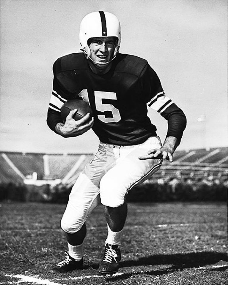Jimmy Harris in 1955. Harris quarterbacked two Sooner national championship teams; 1955 and 1956.  Original photo undated, unpublished. Entered in library 7-27-1955.