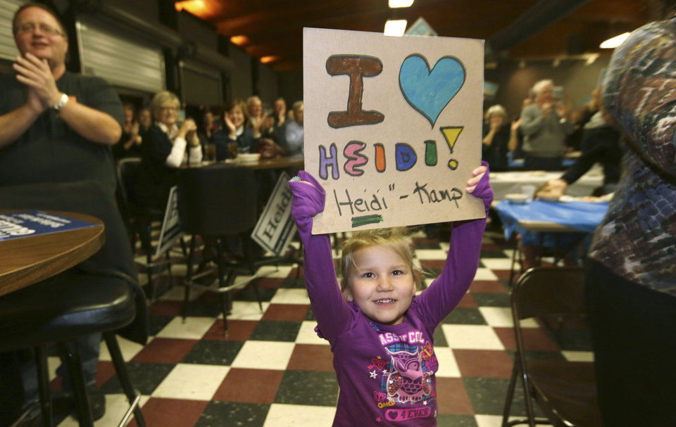 Four-year-old Maya Lahlum holds up a sign supporting Democratic U.S. Senate candidate Heidi Heitkamp as she speaks during a campaign stop at Teamsters Hall in Fargo, N.D, Monday, Nov. 5, 2012. Heitkamp is running against Republican Rick Berg for the North Dakota's U.S Senate seat. (AP Photo/LM Otero)