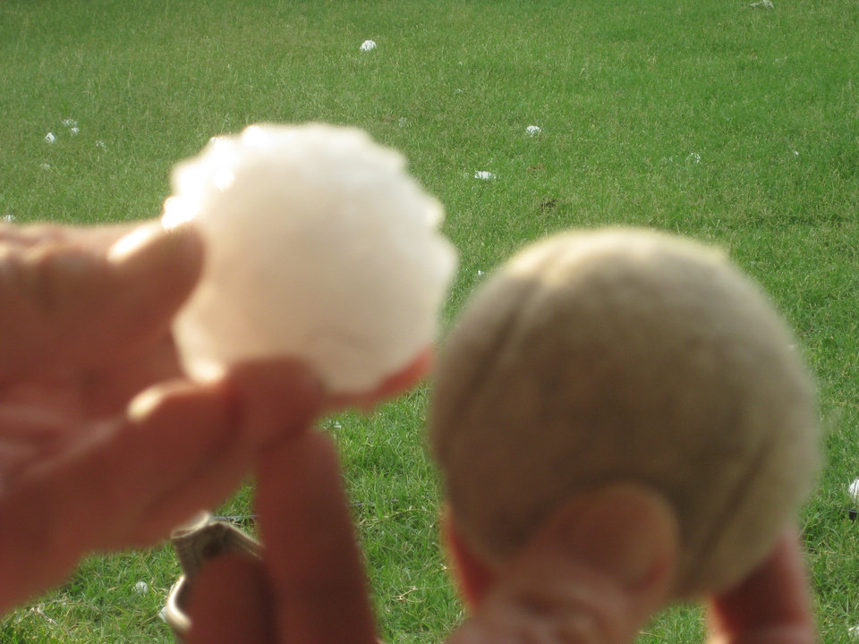 Hail in Bethany compared to tennis ball