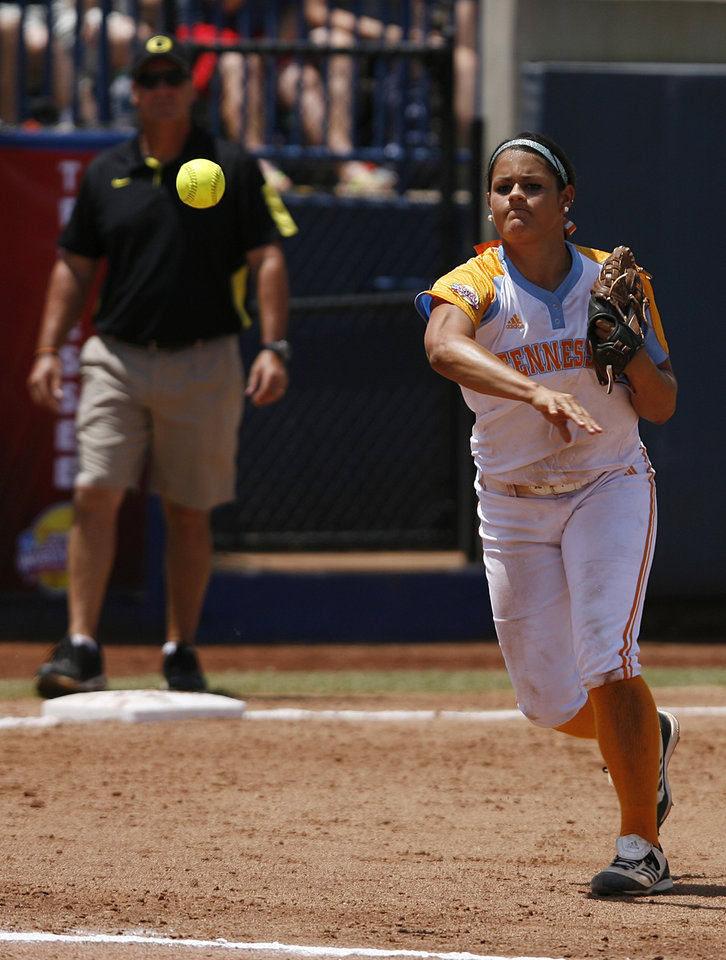 Tennessee's Raven Chavanne (88) throws a ball to first base during a Women's College World Series game between Tennessee and Oregon at ASA Hall of Fame Stadium in Oklahoma City, Saturday, June 2, 2012.  Photo by Garett Fisbeck, The Oklahoman