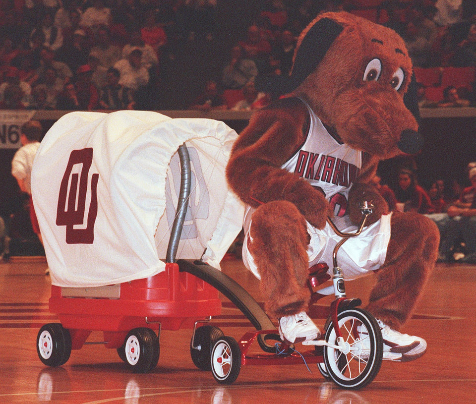 Photo - UNIVERSITY OF OKLAHOMA, OU, COLLEGE BASKETBALL, MASCOT: TOP DAUG  AT OU BASKETBALL GAME
