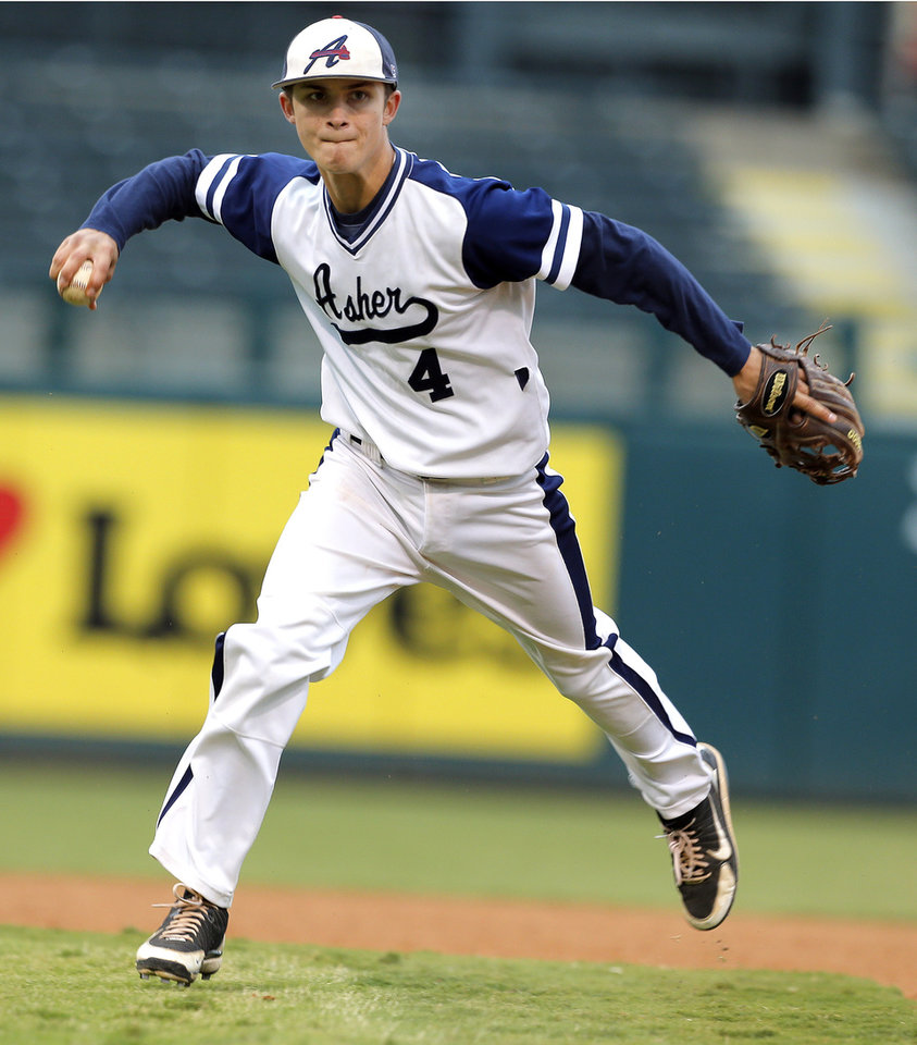 Photo - Asher's Jake Frazier during the Class B Fall baseball state at the Chickasaw Bricktown Ballpark between Red Oak and Asher  in Oklahoma City, Saturday, Oct. 6, 2012. Photo by Sarah Phipps, The Oklahoman