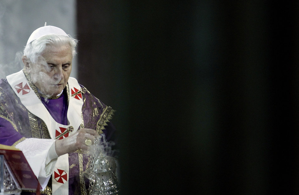Pope Benedict XVI celebrates Ash Wednesday mass at the Basilica of Santa Sabina, in Rome, Wednesday, Feb.  2010. Ash Wednesday marks the beginning of Lent, a solemn period of 40 days of prayer and self-denial leading up to Easter. (AP Photo/Alessia Pierdomenico, pool)