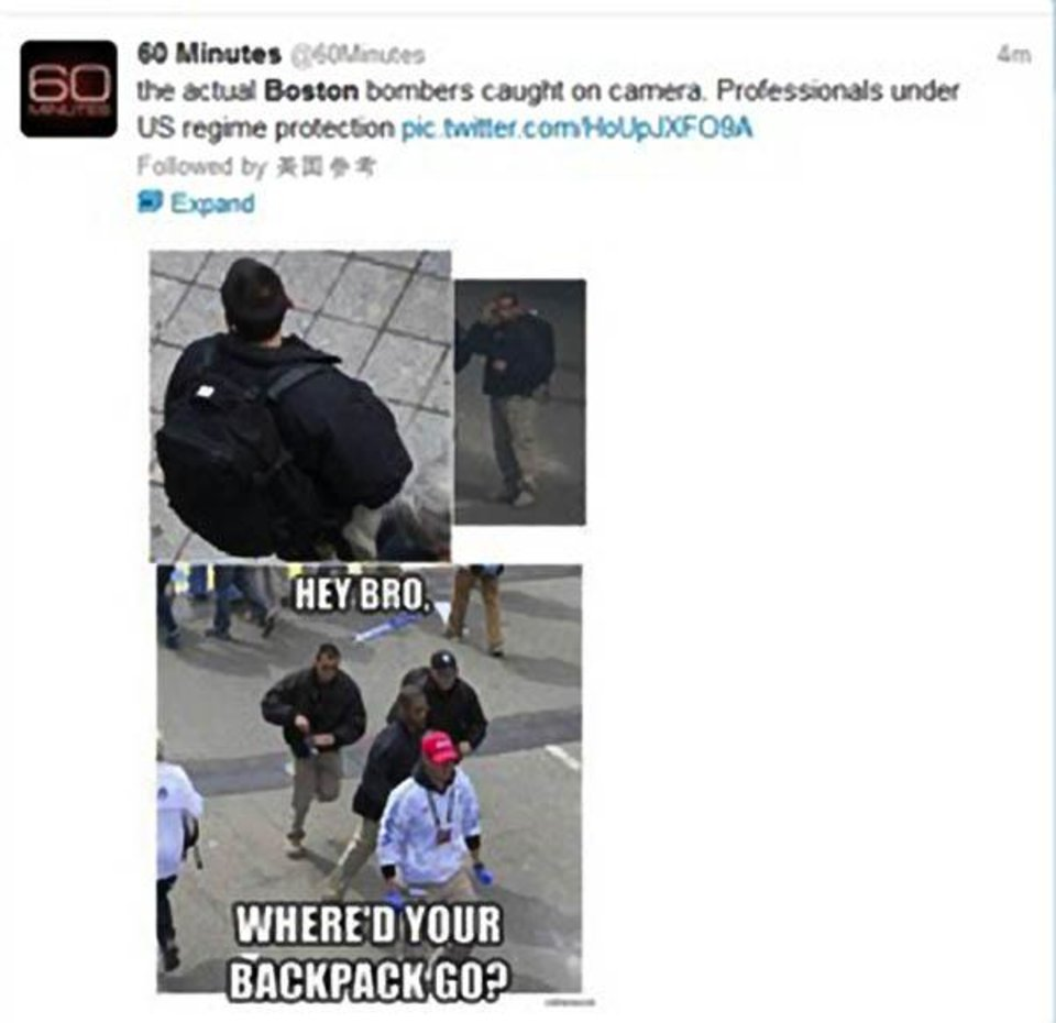 "This screen grab shows a tweet from the compromised ""60 Minutes"" Twitter account, Saturday, April 20, 2013. The Twitter accounts for two national CBS programs have been compromised and suspended.  A CBS News spokeswoman confirms Saturday that tweets sent earlier in the afternoon from the ""60 Minutes"" and ""48 Hours"" Twitter handles saying their accounts were compromised are correct. (AP Photo)"