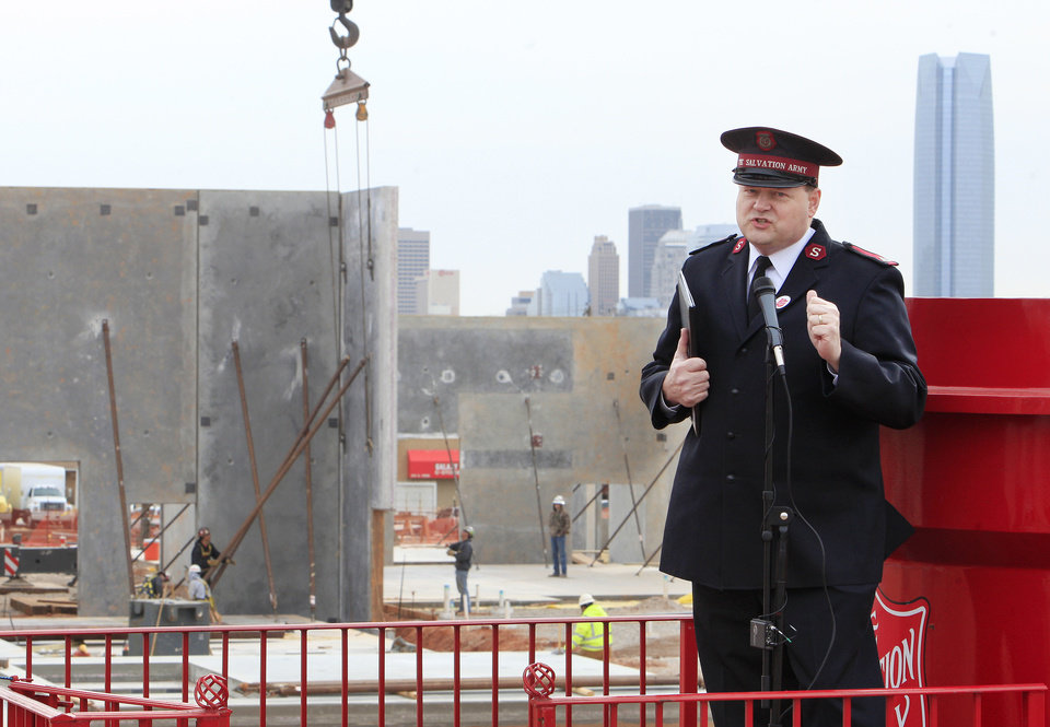 Photo -  Salvation Army Maj. Steve Morris talks Wednesday about progress on the Center of Hope being built by the Salvation Army Central Oklahoma Area Command at NW 10 and Pennsylvania Avenue in Oklahoma City. Photo by Paul B. Southerland, The Oklahoman   PAUL B. SOUTHERLAND -