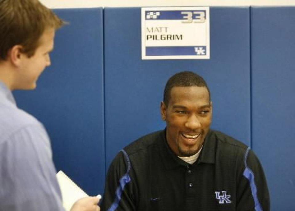 Photo -  Matt  Pilgrim enjoyed a laugh during his interview on Wednesday, Oct. 15, 2008 at the University of Kentucky s annual men s basketball Media Day at the Joe Craft Center on campus in Lexington. search word: UK, Kentucky. Photo by David Perry