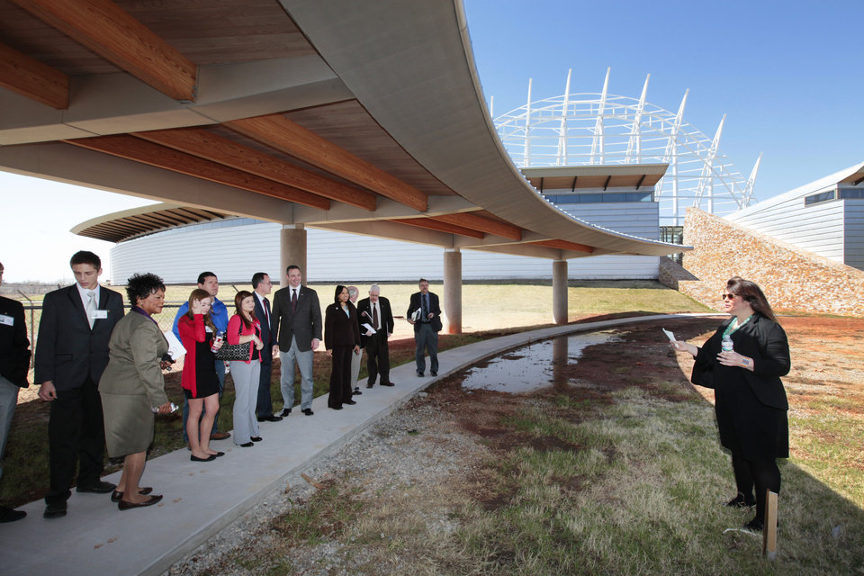Photo -      On Tuesday, Director of Museum Programs Stacey Halfmoon, right, gives members of the legislature a tour of the American Indian Cultural Center in Oklahoma City. Photo by David McDaniel, The Oklahoman   David McDaniel -