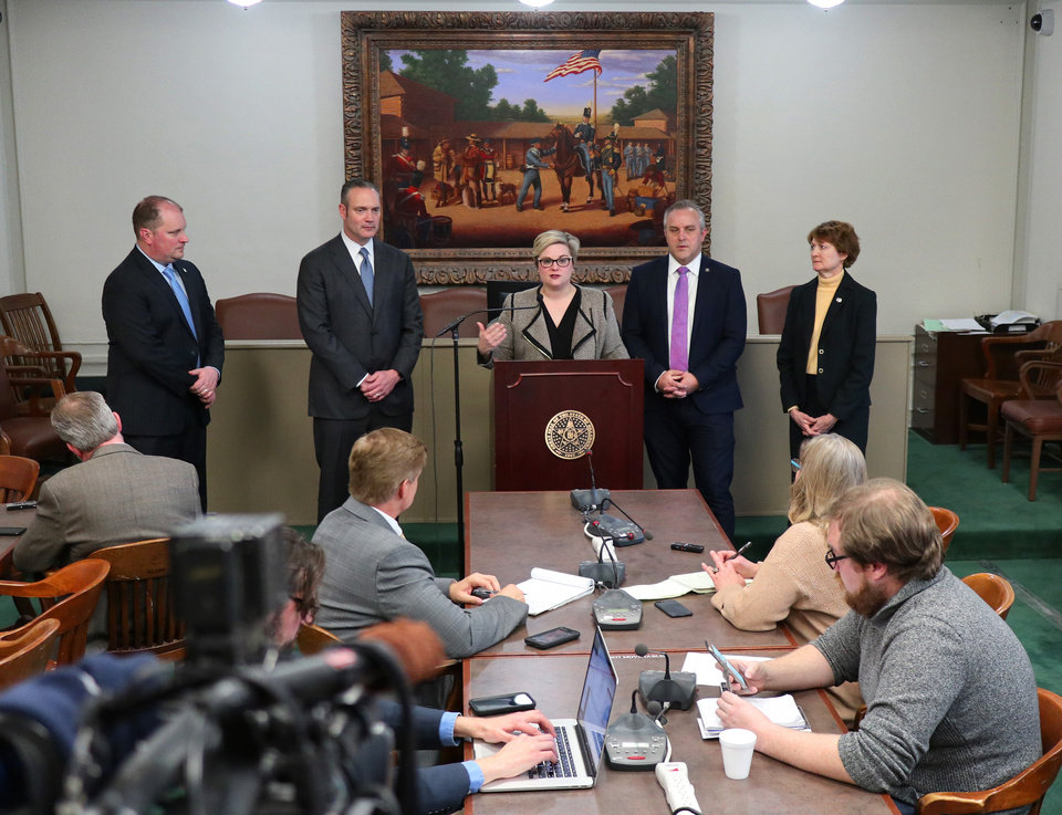 Photo - House Majority Floor Leader, Jon Echols, Speaker Charles McCall, House Minority Floor Leader Emily Virgin, Senate Pro Tempore Greg Treat and Senate Minority Leader Kay Floyd announce plans for the legislature Monday, March 16, 2020.  [Photo by Doug Hoke/The Oklahoman]