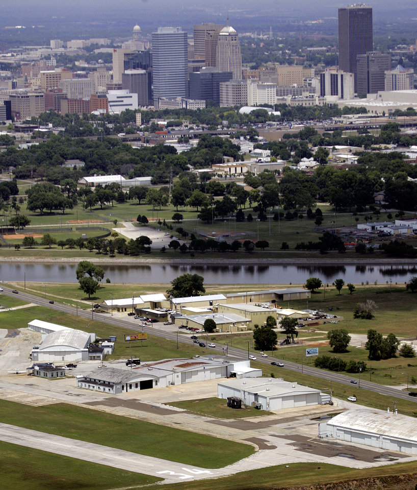 OKLAHOMA CITY / SKYLINE / AERIAL VIEW:  The Downtown Airpark is seen in the foreground of this aerial photograph in Oklahoma City, 06/01/2005. Staff photo by Nate Billings.