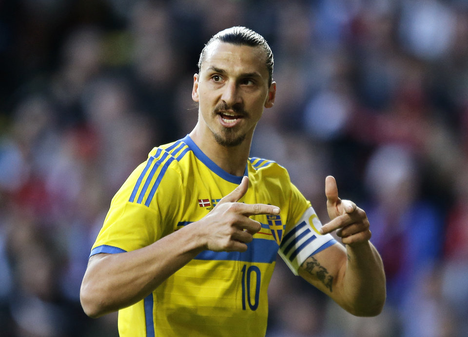 Photo - Sweden's Zlatan Ibrahimovic, gestures during the friendly soccer match against Denmark in Copenhagen on Wednesday, May 28, 2014. (AP Photo/POLFOTO, Jens Dresling)  DENMARK OUT