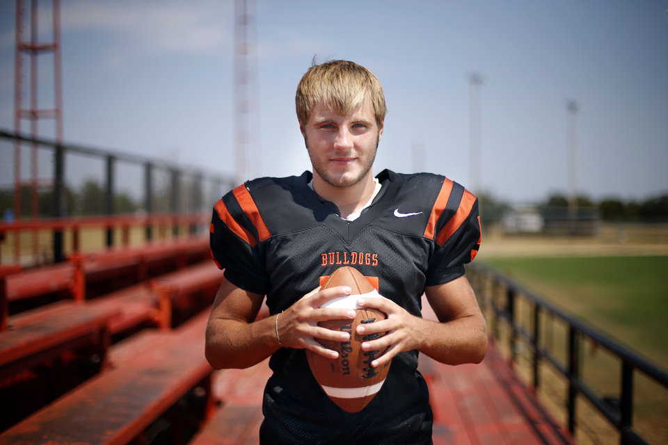 Photo - HIGH SCHOOL FOOTBALL: Matt Miller poses for a photo at Davenport High School in Davenport, Okla., Friday, Aug. 10, 2012. Photo by Sarah Phipps, The Oklahoman