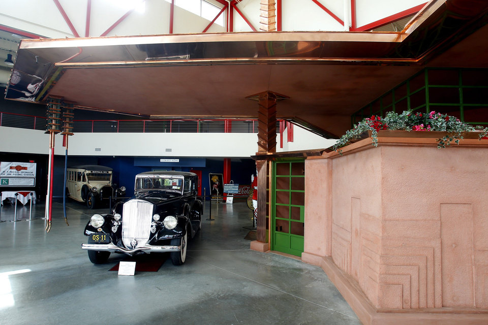 Photo - The Buffalo Transportation Pierce-Arrow Museum's Frank Lloyd Wright-designed filling station, seen in a Thursday, June 26, 2014 photo, opens Friday, June 27, 2014, more than 11 years after acquiring the 1927 plans from the Frank Lloyd Wright Foundation in Scottsdale, Az., at The Buffalo Transportation Pierce-Arrow Museum, in Buffalo, N.Y. The filling station never made it off the drawing board during the architect's lifetime. (AP Photo/The Buffalo News, John Hickey)