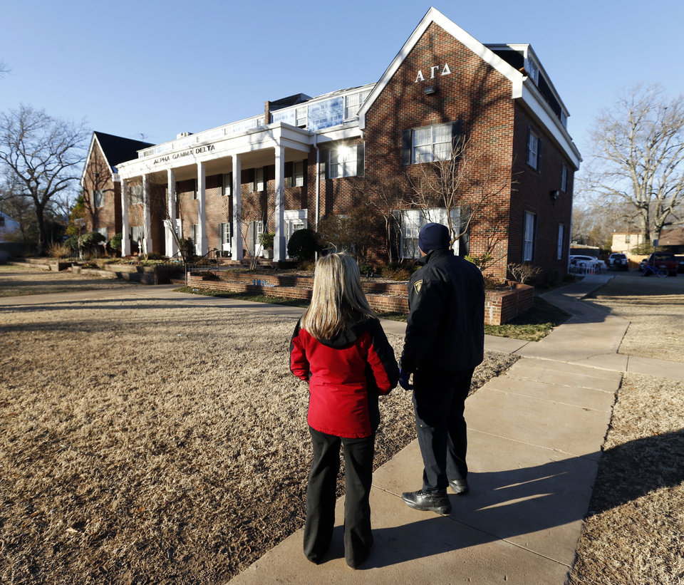Photo - The attic and roof were damaged by a fire at the Alpha Gamma Delta Sorority house near the University of Oklahoma.  The building was undergoing roof repair.  Photo by Steve Sisney, The Oklahoman  STEVE SISNEY - THE OKLAHOMAN