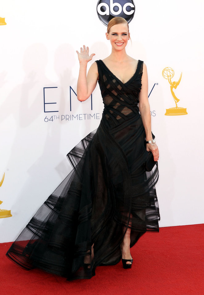 Photo -   January Jones arrives at the 64th Primetime Emmy Awards at the Nokia Theatre on Sunday, Sept. 23, 2012, in Los Angeles. (Photo by Matt Sayles/Invision/AP)