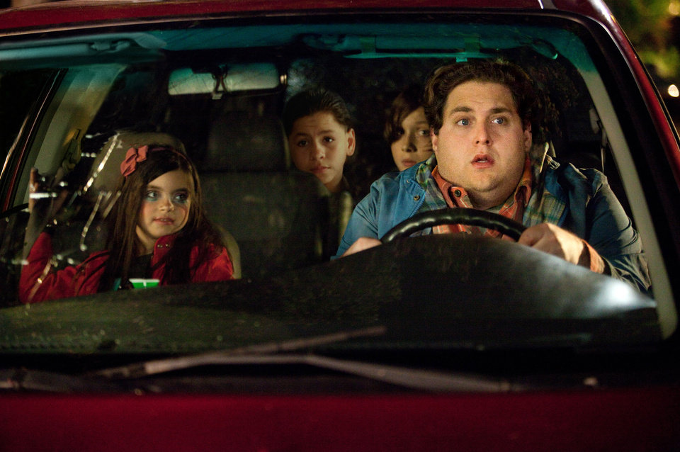 "In this image released by 20th Century Fox, from left, Landry Bender, Kevin Hernandez, Max Records and Jonah Hill are shown in a scene from ""The Sitter."" (AP Photo/20th Century Fox, Jessica Miglo) ORG XMIT: NYET876"