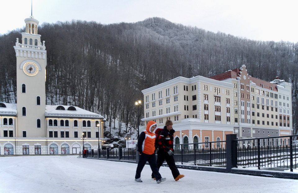 Photo - FOR STORY RUSSIA SOCHI YEAR TO GO - In this photo dated Saturday, Feb. 11, 2012, showing part of the ski resort constructions in Krasnaya Polyana near the Black Sea resort of Sochi, southern Russia, with just one year till the opening ceremony of the winter Olympic 2014 Sochi Games.  The Black Sea resort of Sochi is a vast construction site sprawling for nearly 40 kilometers (25 miles) along the coast and 50 kilometers (30 miles) up into the mountains, with no escape from the clang and clatter of the construction works, the drilling, jack-hammering and mixing of cement. (AP Photo/Igor Yakunin)