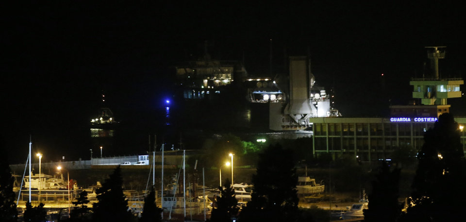 Photo - The  U.S. cargo vessel MV Cape Ray leaves the Gioia Tauro port, southern Italy, Wednesday, July 2, 2014. Cargo containers carrying hundreds of tons of Syrian chemical weapons were loaded onto a U.S. cargo ship Wednesday for destruction at sea, one of the final phases of the international effort to rid Syria of its chemical weapon stockpile. The chemicals had crossed the Mediterranean aboard the Danish ship Ark Futura, which steamed into the southern Italian port of Gioia Tauro as the sun rose Wednesday. (AP Photo/Luca Bruno)