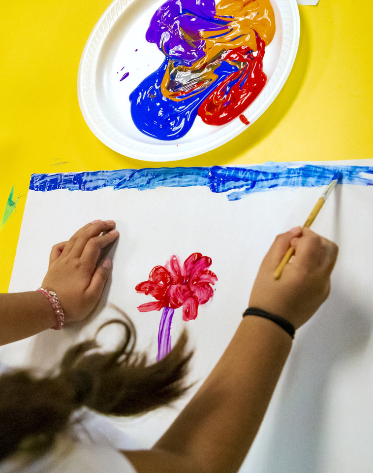 Photo - A Heronville Elementary first grader   paints their view of a lesson on the story of Thanksgiving from the Native American perspective while in Alicia Strawn's class at Heronville Elementary in Oklahoma City, Okla. on Thursday, Nov. 21, 2019. [Chris Landsberger/The Oklahoman]