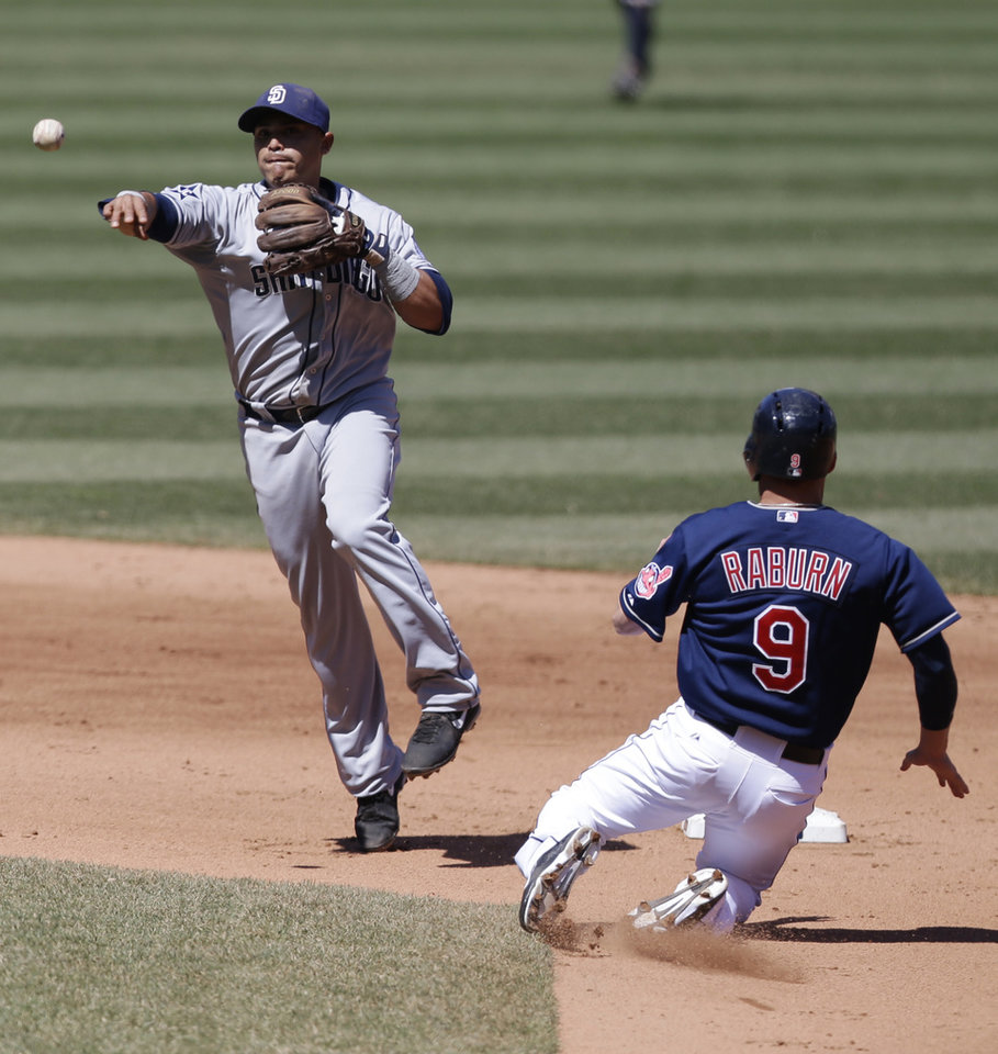 Photo - San Diego Padres shortstop Everth Cabrera throws to first base after getting Cleveland Indians' Ryan Raburn, right, out at second base in the fourth inning in the first game of a baseball doubleheader, Wednesday, April 9, 2014, in Cleveland. Michael Brantley was out at first base for the double play. (AP Photo/Tony Dejak)
