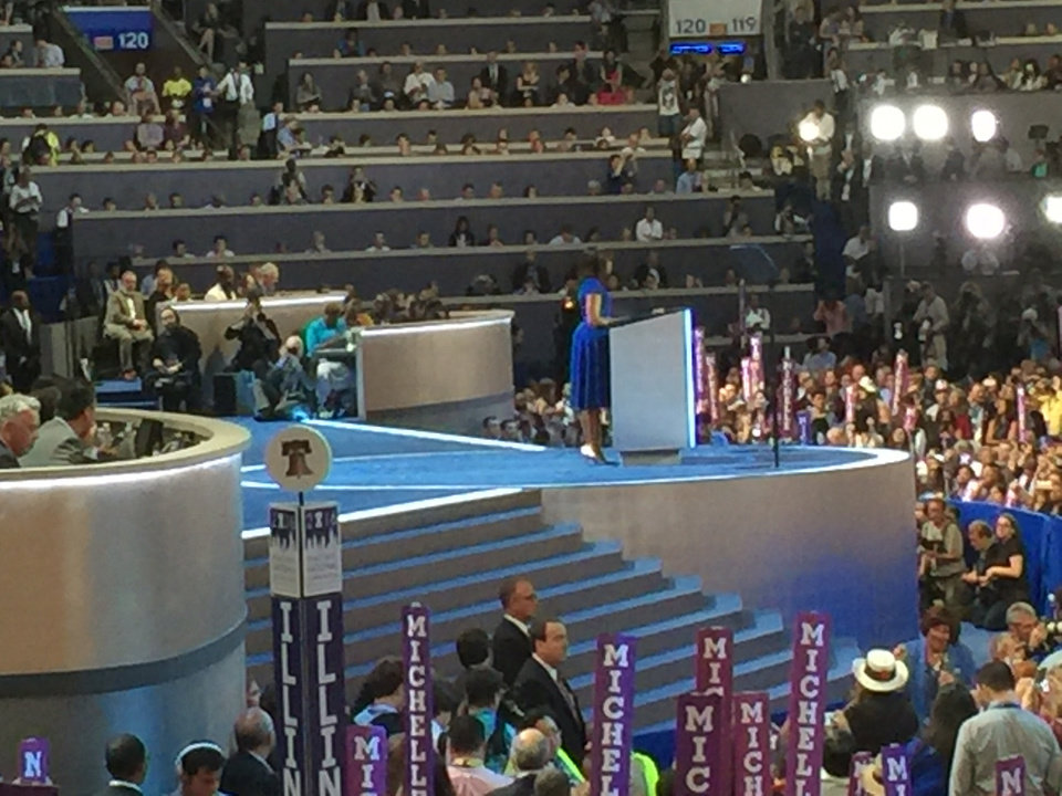 Photo - Michelle Obama's  speech. -- Photo via Bill Dower, an Oklahoma delegate attending the Democratic National Convention in Philadelphia.