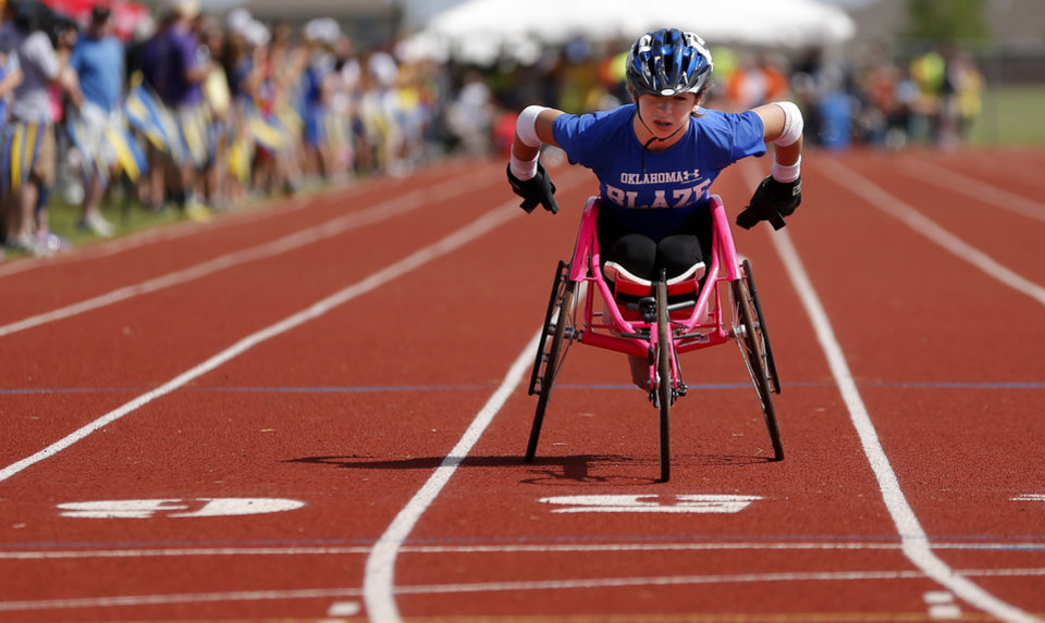 Alexa Halko competes in the UCO Endeavor Games at the Edmond North High School School track, Saturday, June 7, 2014. Photo by Bryan Terry, The Oklahoman