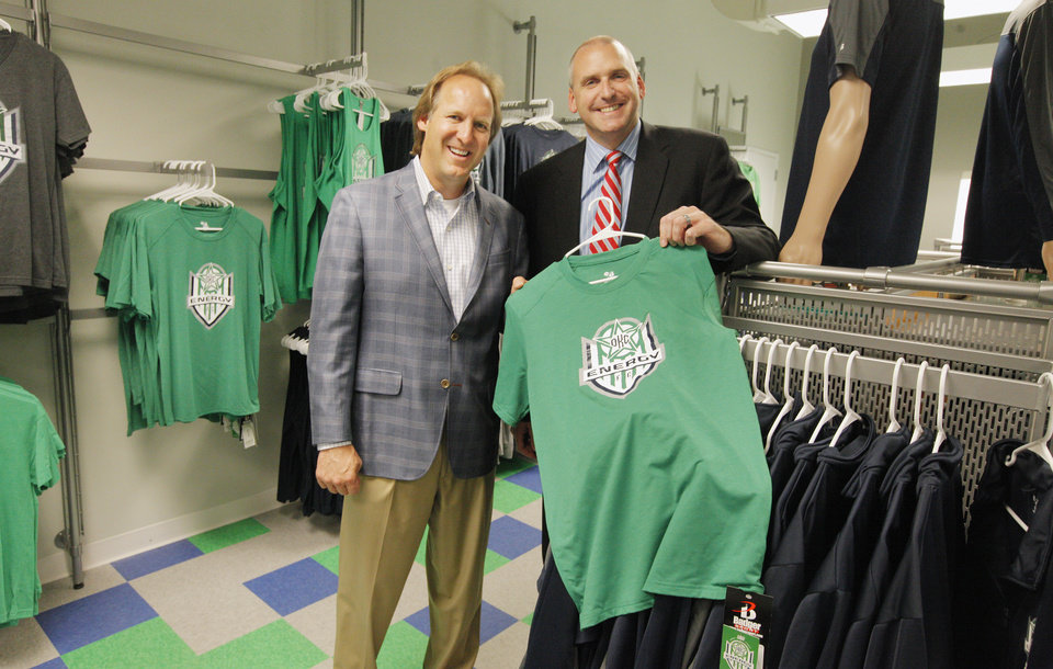Photo -  Co-owners Tim McLaughlin and Bob Funk Jr. show their Energy FC store at 1001 N Broadway in Oklahoma City on Friday. Photos by Paul B. Southerland, The Oklahoman   PAUL B. SOUTHERLAND -