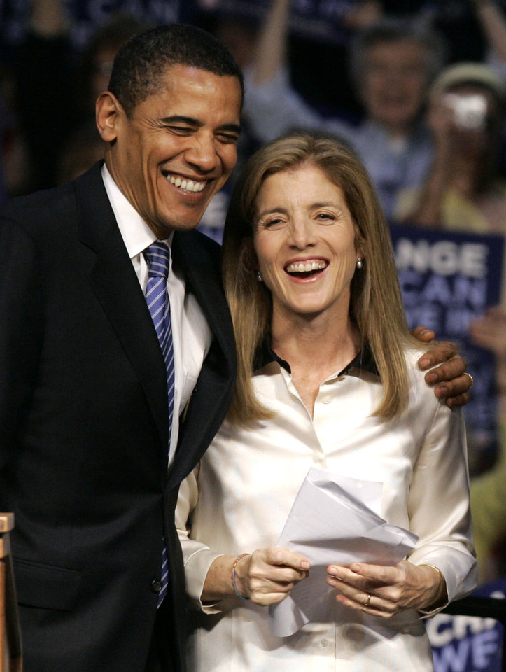 FILE -  In this April 20, 2008 file photo, then-Democratic presidential candidate Sen. Barack Obama, D-Ill. shares a moment with Caroline Kennedy before addressing supporters at a rally in Scranton, Pa. AP sources say Obama is nominating Kennedy as ambassador to Japan.  (AP Photo/Charles Rex Arbogast, File)
