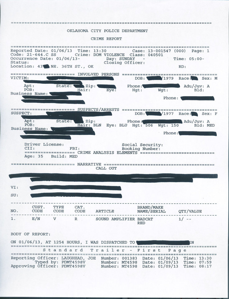 Photo - The is the first page of a crime report about an accusation against the Forest Park police chief. Oklahoma City police blacked out her name, address, occupation and phone numbers. Police also blacked out personal information about her husband, who made the accusation.