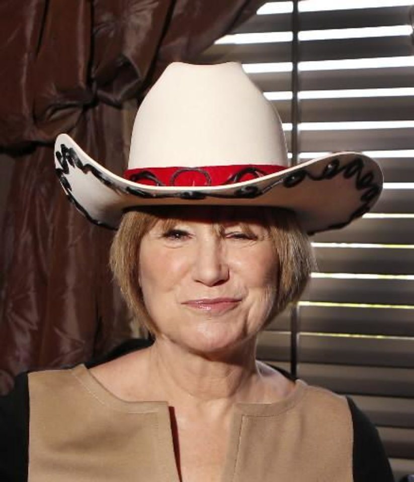 "Tulsa native Mary Kay Place is shown wearing a hat she is donating-- the hat she wore as part of her costume in the television show, "" Mary Hartman, Mary Hartman."" Photo by Jim Beckel, The Oklahoman."