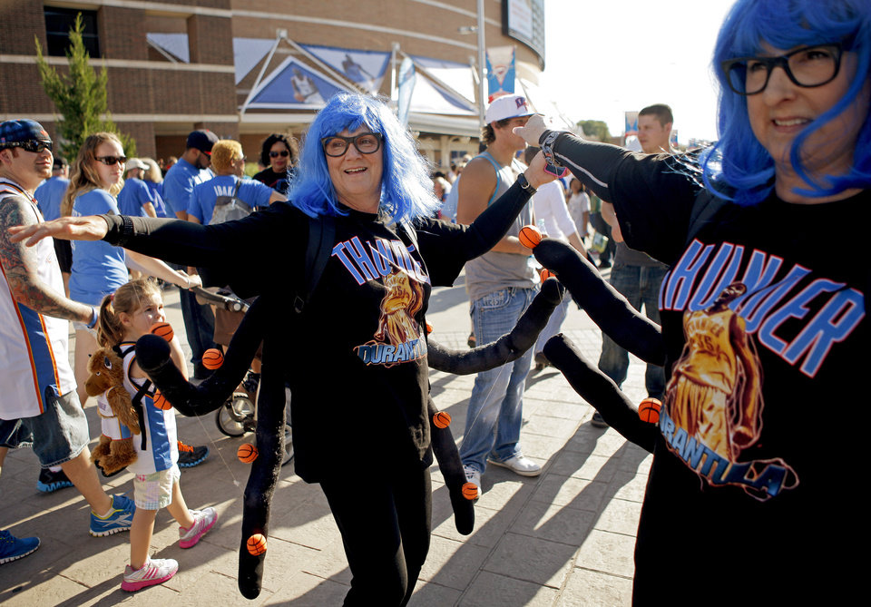 Photo - Cherie Rich, left, and Vanessa Shadix of Oklahoma City show off their Durantula costumes before Game 4 of the Western Conference Finals between the Oklahoma City Thunder and the San Antonio Spurs in the NBA playoffs at the Chesapeake Energy Arena in Oklahoma City, Saturday, May 31, 2012. Photo by Bryan Terry, The Oklahoman