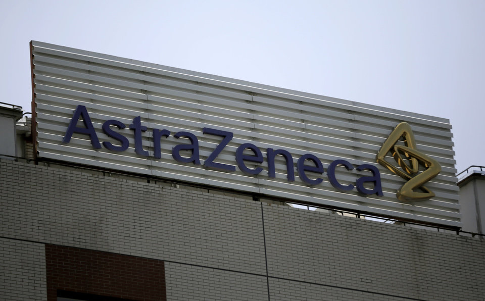 Photo - FILE - This July 24, 2013 file photo shows the AstraZeneca logo on the company's building in Shanghai, China. Pfizer says it does not intend to make a takeover offer for British drugmaker AstraZeneca. The Monday, May 26, 2014 announcement comes a week after AstraZeneca's board rejected a proposed $119 billion buyout offer from Pfizer, the world's second-biggest drugmaker by revenue.  (AP Photo/Eugene Hoshiko, File)