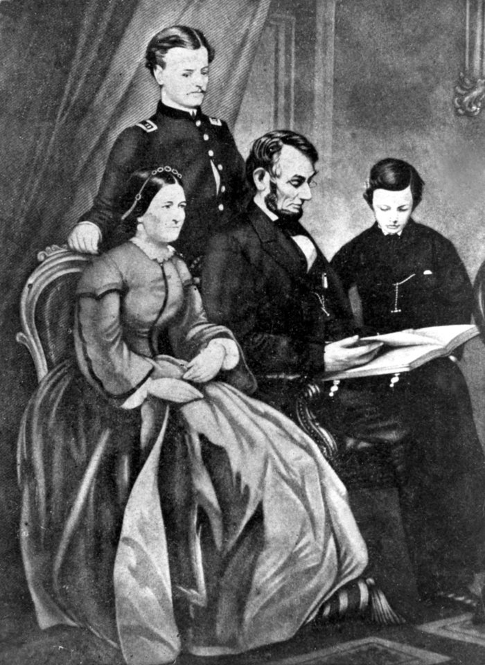 Photo - This undated painting by Schapel shows Abraham Lincoln with his wife, Mary Todd Lincoln, and their two sons, Robert Todd and Thomas Lincoln. The location is not known. Living in the White House has its perks, but a clothing allowance is not one of them. First ladies feel all sorts of pressure to project a fashionable look, and over the decades they've tried a range of cash-saving strategies to pull it off without going broke. Mrs. Lincoln considered selling manure from the White House grounds to pay the bills that she ran up for clothes and household items. (AP Photo)