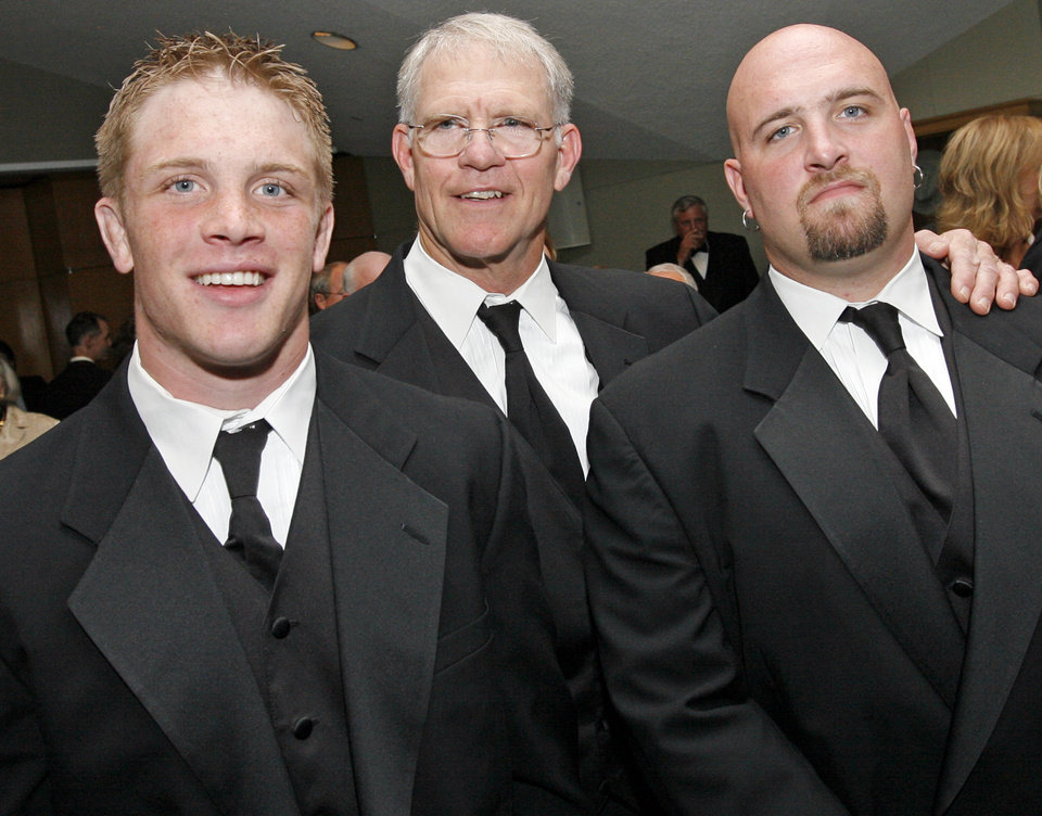 2009 inductee Jon Kolb, middle, poses for a photo with two of his sons Caleb Kolb, left, and Tanner Kolb at the Oklahoma Sports Hall of Fame induction ceremony at the National Cowboy and Western Heritage Museum, Monday, August 3, 2009. By Nate Billings, The Oklahoman