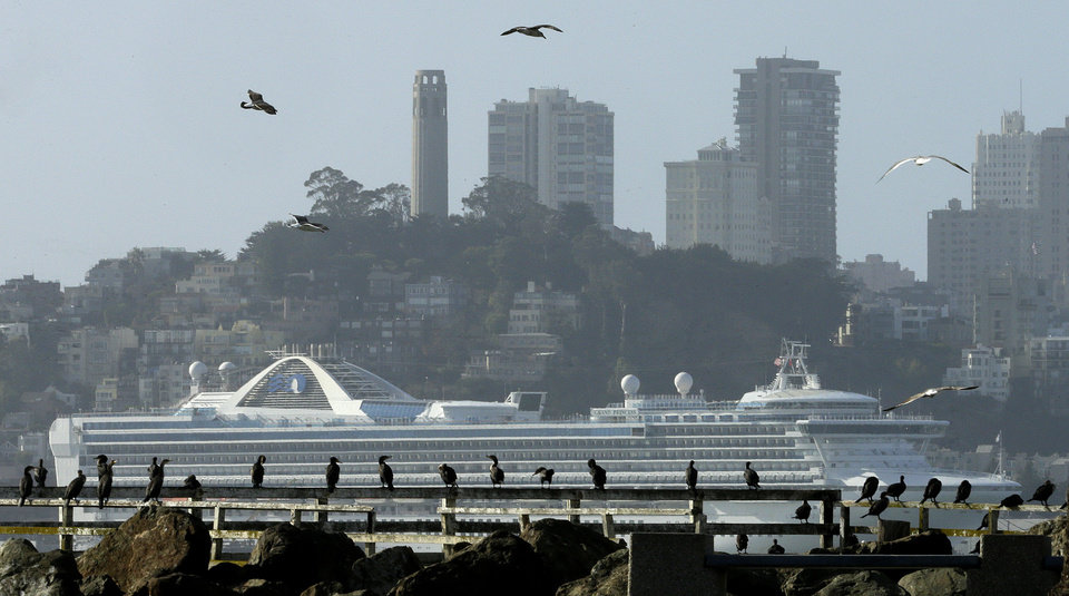 Photo - Birds flock near a pier as a cruise ship is seen berthed near the San Francisco skyline Thursday, Dec. 10, 2015, as seen from Treasure Island in San Francisco Bay. Another storm system is expected this afternoon, bringing rain to the Bay Area. (AP Photo/Ben Margot)