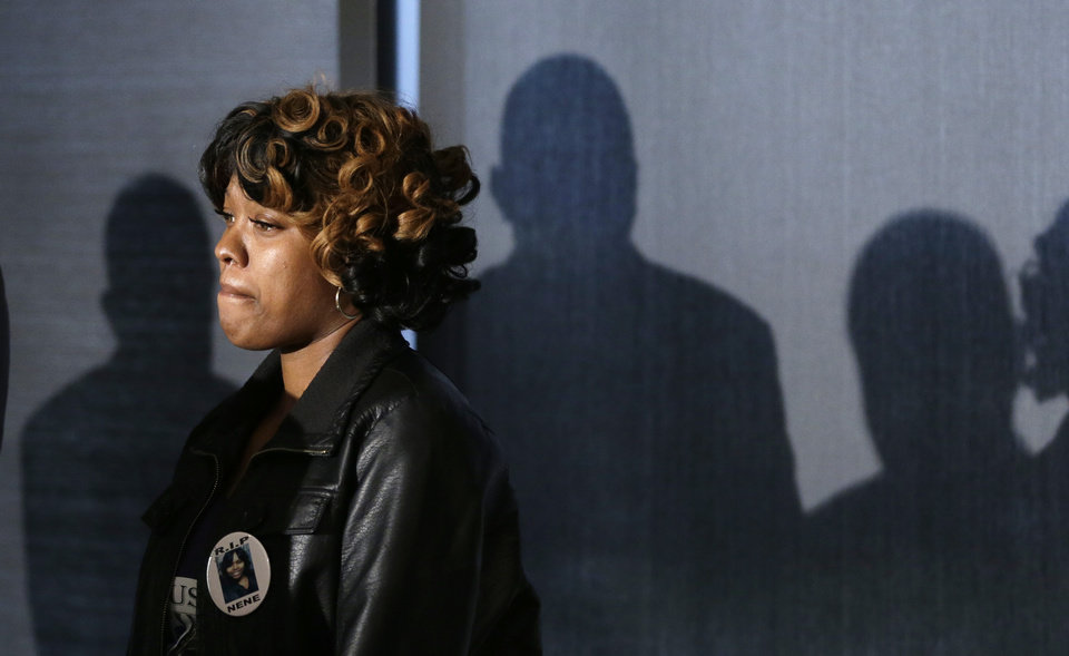 Photo - Monica McBride, mother of Renisha McBride is seen during a news conference in Southfield, Mich., Friday, Nov. 15, 2013. Her daughter was shot on Nov. 2  in the face on Theodore P. Wafer's front porch in Dearborn Heights. (AP Photo/Carlos Osorio)