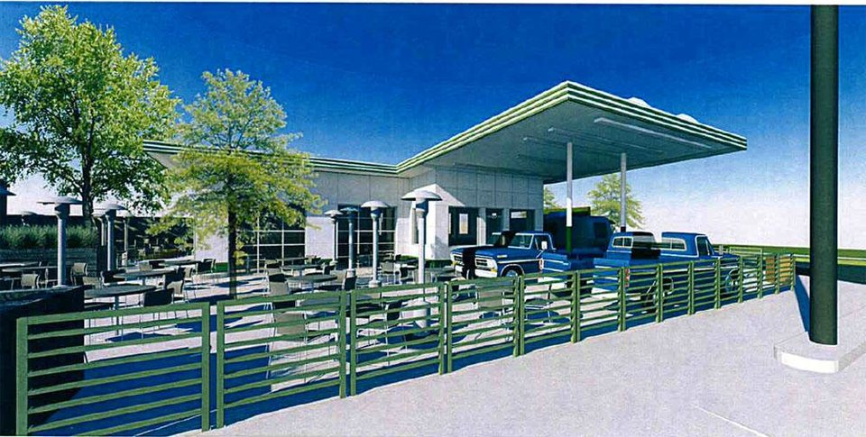 Photo - This rendering shows proposed plans for converting the former Elmer's Texaco at 2425 N Walker into the Pump Bar.        TAP Architecture