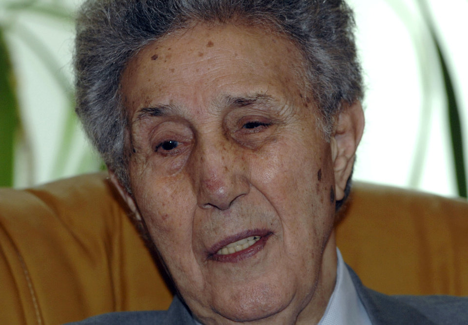 Photo -   FILE - This Dec.13, 2010 file photo shows Algeria's first president Ahmed Ben Bella in Algiers . Ahmed Ben Bella, a historic leader of Algeria's bloody independence from France, died at his family home in Algiers on Wednesday, April, 11, 2012. (AP Photo, File)