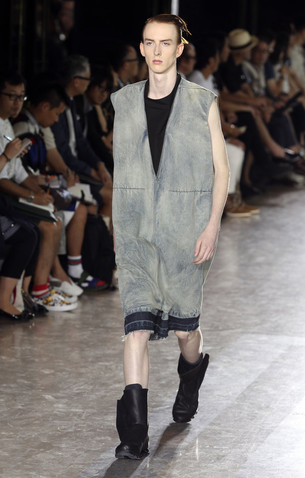 Photo - A model wears a creation for Rick Owens men's spring-summer 2015 fashion collection presented in Paris, France, Thursday, June 26, 2014. (AP Photo/Remy de la Mauviniere)