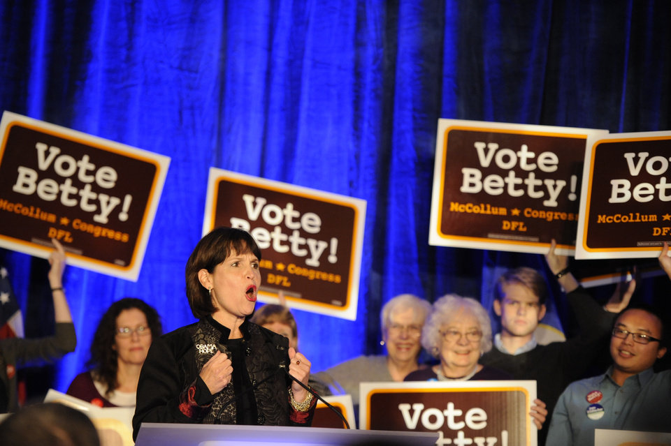 U.S. Rep. Betty McCollum, D-Minn., speaks at an election night event at the Crowne Plaza on Tuesday, Nov. 6, 2012 in St. Paul, Minn. (AP Photo/Hannah Foslien)
