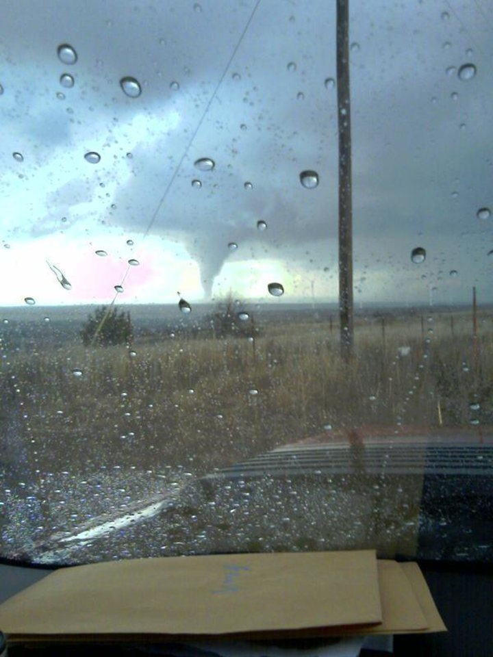 Photo - WEATHER, STORM: A tornado is shown about 5:30 p.m. Monday near a wind farm north of Elk City.  Reader SUBMITTED photo By Brad Miller ORG XMIT: 1003082233025169