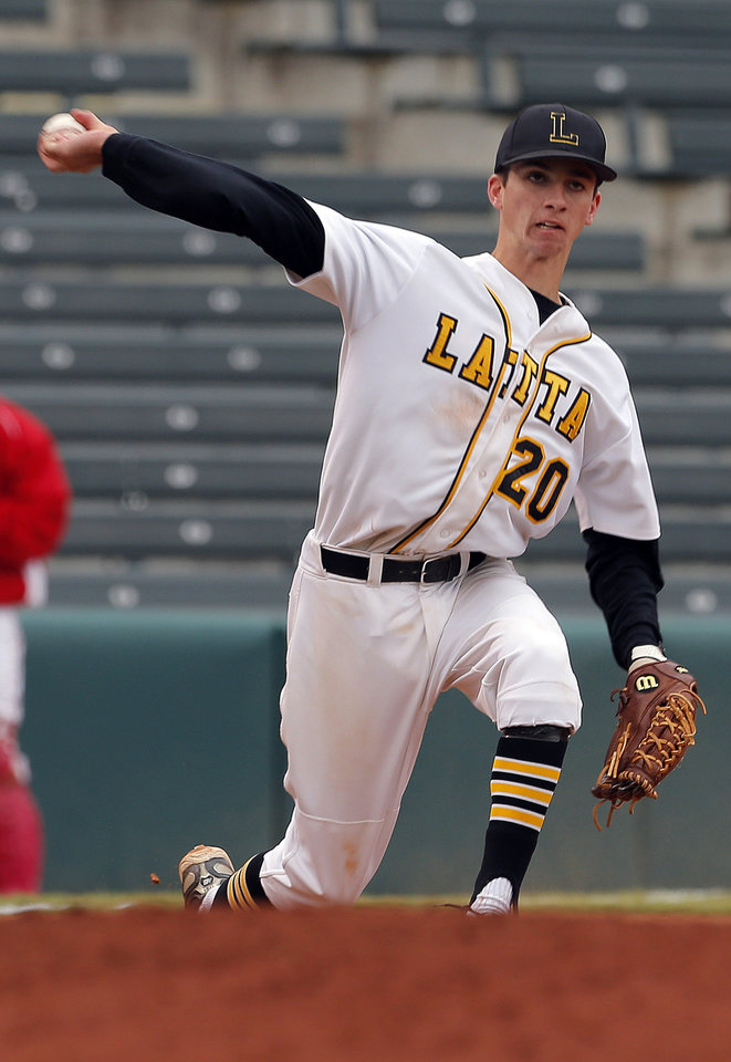 Latta\'s Brady Johnson throws to first during the Class A Fall baseball state championships between Dale and Latta at the Chickasaw Bricktown Ballpark in Oklahoma City, Saturday, Oct. 6, 2012. Photo by Sarah Phipps, The Oklahoman