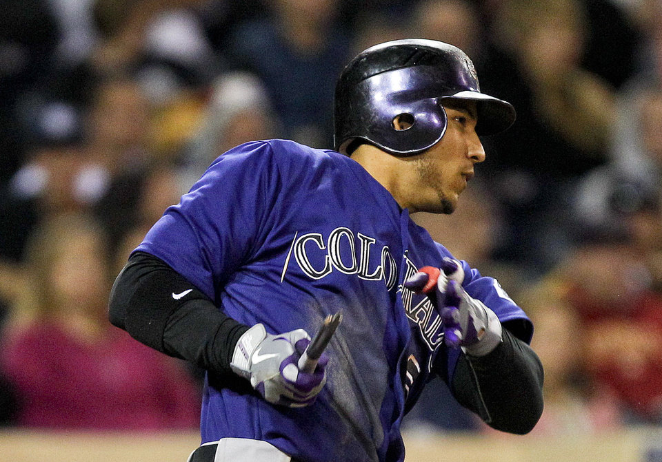 Photo -   Colorado Rockies' Carlos Gonzalez has nothing but the handle left of his bat on a swing that resulted in a run producing single to center against the San Diego Padres in the sixth inning of a baseball game Monday, May 7, 2012 in San Diego. (AP Photo/Lenny Ignelzi)