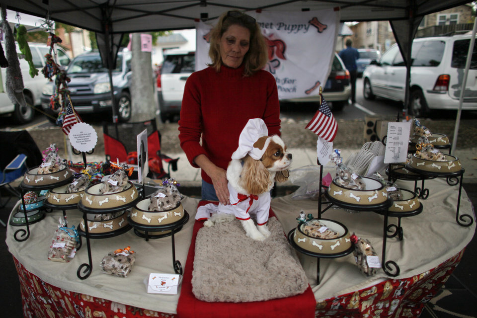 Cynthia Kopp and her dog Aires wait for customers at a farmers market, Saturday Oct. 6, 2012, in Doylestown Pa. Kopp, 56, lost her accounting job in the recession and now works part-time as a supermarket cashier and comes to the farmers market each week to sell $5 bags of her gourmet dog biscuits.