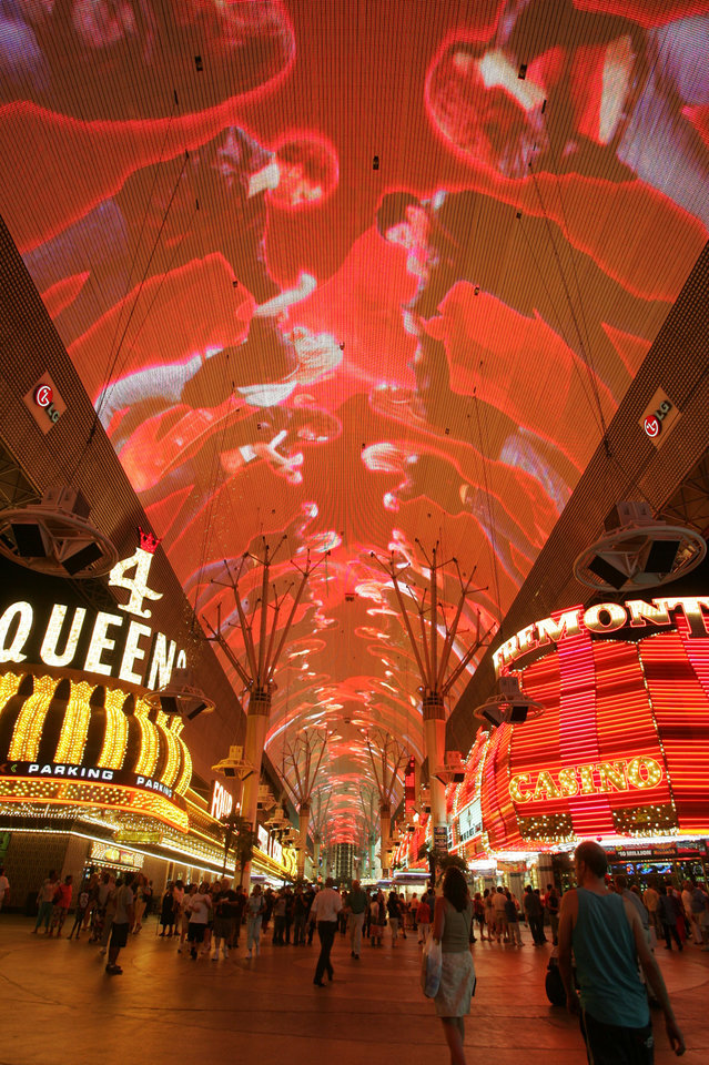 The Fremont Experience light show in Las Vegas.  Photo courtesy vegasexperience.com. <strong></strong>
