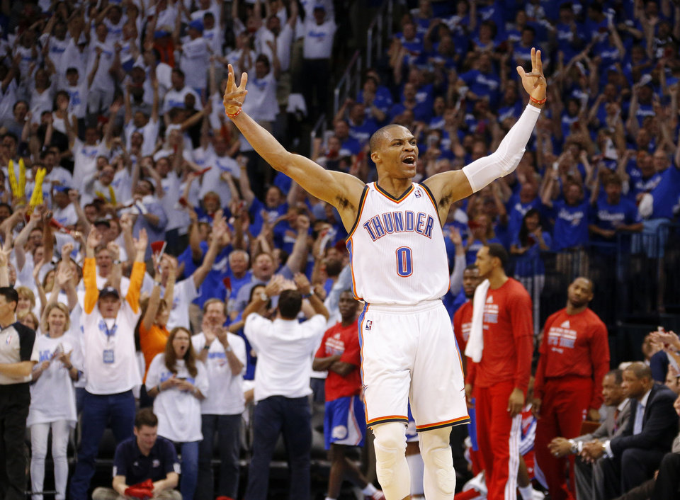 Oklahoma City's Russell Westbrook (0) celebrates after a basket during Game 2 of the Western Conference semifinals in the NBA playoffs between the Oklahoma City Thunder and the Los Angeles Clippers at Chesapeake Energy Arena in Oklahoma City, Wednesday, May 7, 2014. PHOTO BY BRYAN TERRY, The Oklahoman